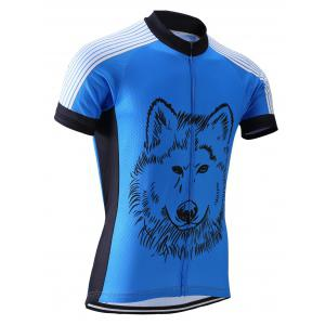 Wolf Print Stripe Spliced Zip-Up Stand Collar Cycling Suit ( T-Shirt + Bib Shorts ) For Men - LIGHT BLUE XL