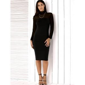High Neck Mesh Insert Long Sleeve Bodycon Dress - BLACK XL