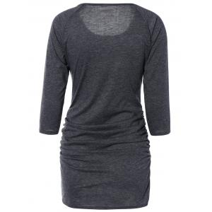 Chic Pure Color Ruched Bodycon Dress For Women - DEEP GRAY S