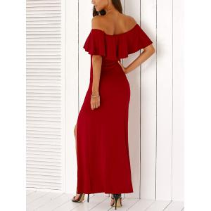 Stylish Off The Shoulder High Slit Solid Color Maxi Dress -