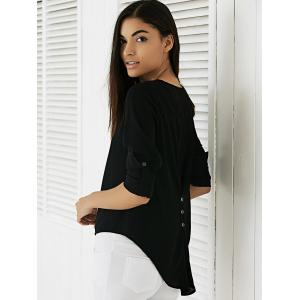 Adjustable Sleeve Buttoned High Low Hem Blouse -