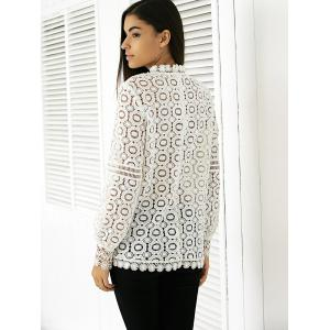 Elegant Round Neck Long Sleeve Lace Blouse - WHITE S