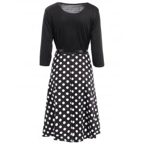 Vintage Women's Belted 3/4 Sleeve Polka Dot Fit and Flare Dress -
