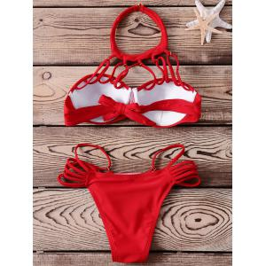 Stylish Halter Candy Color Bikini Set For Women -