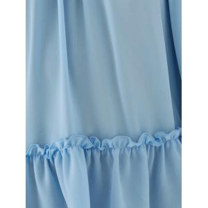 Ruffled Spaghetti Strap Cold Shoulder Blouse - ICE BLUE S