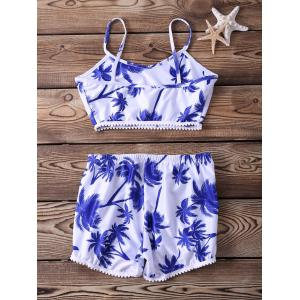 Stylish Spaghetti Strap Printed Two-Piece Women's Swimsuit -