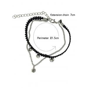 Chic Rhinestone Layered цепи Anklet - Серебристый