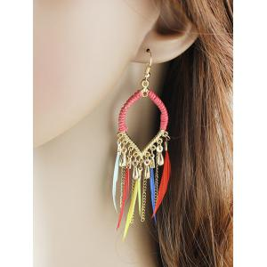 Bohemian Style Water Drop Feather Earrings - COLORMIX