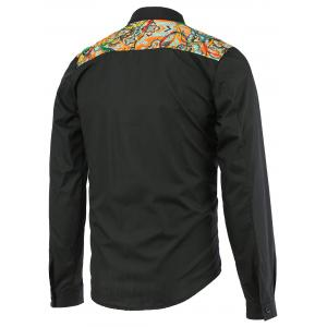 Paisley Pattern Splicing Design Turn-Down Collar Long Sleeve Shirt For Men -