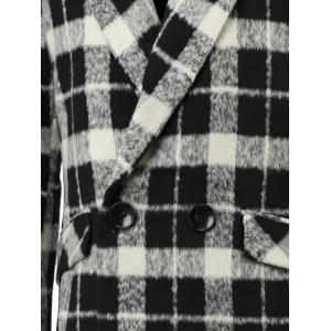 Trendy Lapel Collar Black and White Checked Coat For Men -