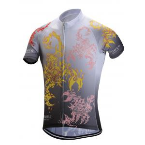 Color Block Paisley Print Zip-Up Stand Collar Cycling Suit ( T-Shirt + Shorts ) For Men -