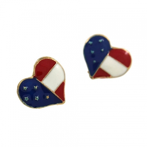 American Flag Heart Shape Stud Earrings -