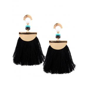 Bead Semicircle Tasseled Earrings - BLACK