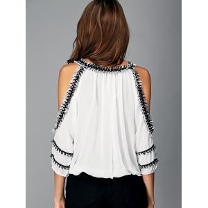 Fashionable Cut Out Fringed Splicing Women's Blouse - WHITE XL