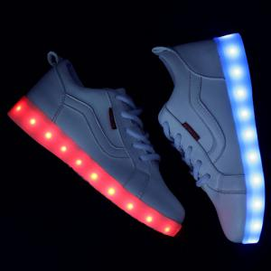 Trendy White and Lights Up Led Luminous Design Athletic Shoes For Women -