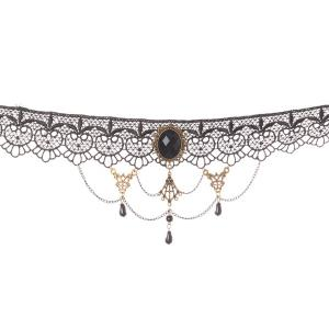 Oval Water Drop Openwork Lace Statement Choker -