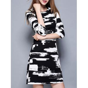 Stylish Ink Painting Chain Design Slimming Dres -