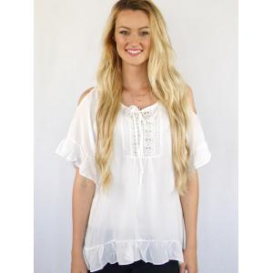 Scoop Neck Cut Out Solid Color Peasant Blouse -