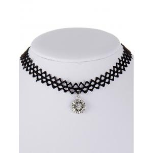 Flower Tattoo Rhinestone Choker Necklace -