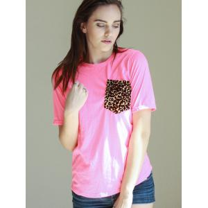 Casual Round Neck Short Sleeve Leopard Print Women's T-Shirt -