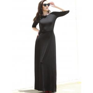 Concise Round Neck High Waist Black Dress For Women -
