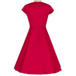 Retro Lace Spliced Faux Collar Fit and  Flare Dress - RED S