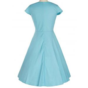 Retro Lace Spliced Faux Collar Fit and  Flare Dress - AZURE XL