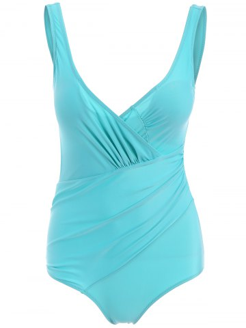 Unique Deep V Neck Open Back One Piece Swimsuit MINT GREEN M