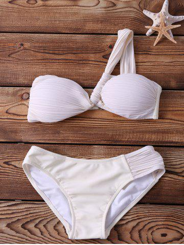 Discount Alluring One-Shoulder Backless Ruched White Bikini Set For Women