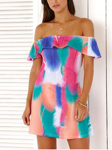 Chic Off The Shoulder Feather Print Flounce Mini Dress For Women