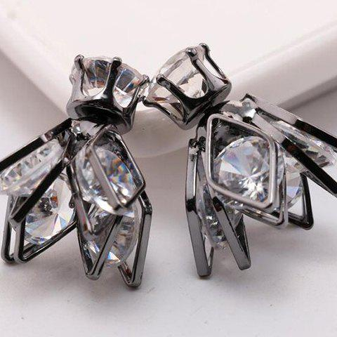 Outfits Pair of Double End Faux Zircon Flower Rhombus Stud Earrings
