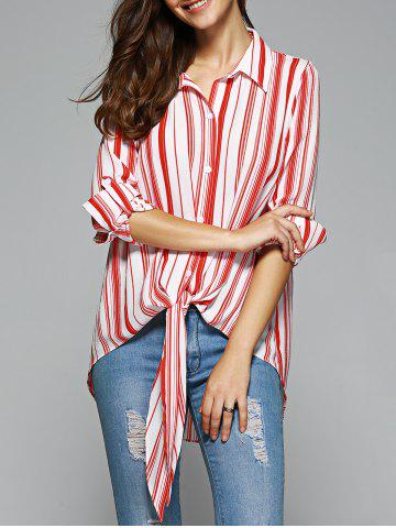 Discount Fashionable High Low Striped Knot Front Shirt STRIPE XL