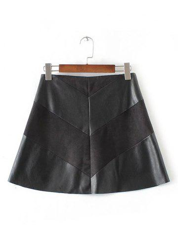 Chic High-Waisted Faux Leather Mini Zippered Skirt BLACK XL