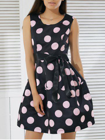 Affordable Fashionable Round Neck Sleeveless Polka Dot Print A-Line Dress