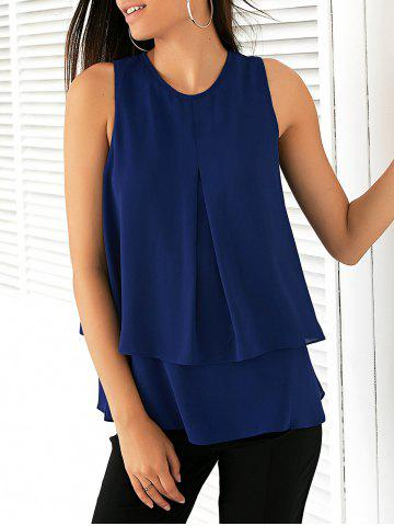 Outfits Elegant Round Collar Double-Layered Chiffon Women's Blouse