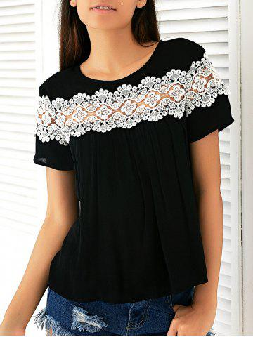 Online Casual Round Neck Short Sleeve Loose-Fitting  Lace T-Shirt