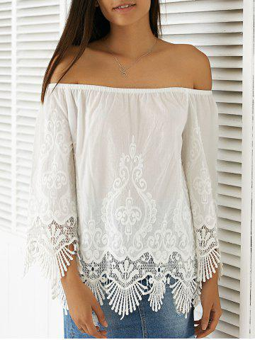 Elegant Scoop Neck 3/4 Sleeve Lace Blouse