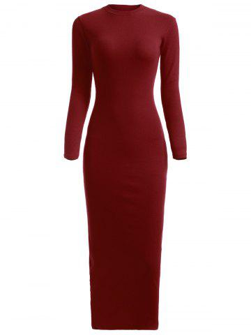 New Knitted Fitted Long Sleeve Maxi Jumper Prom Dress WINE RED ONE SIZE