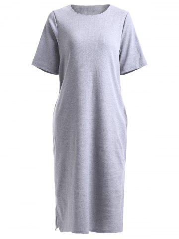 Shops Simple Pure Color Loose Short Sleeve Knitted Dress
