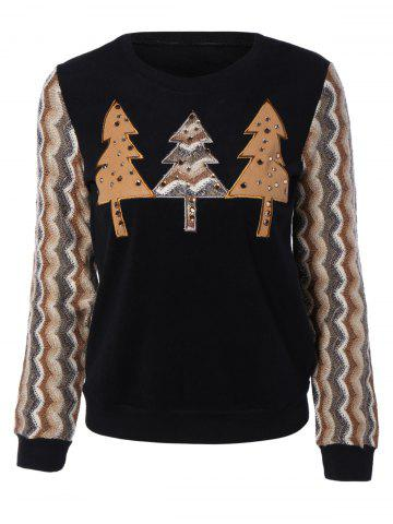 Affordable Retro Trees Applique Wave Stripe Long Sleeve Blouse