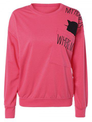 Discount Pocket Kitten Letter Long Sleeve Sweatshirt