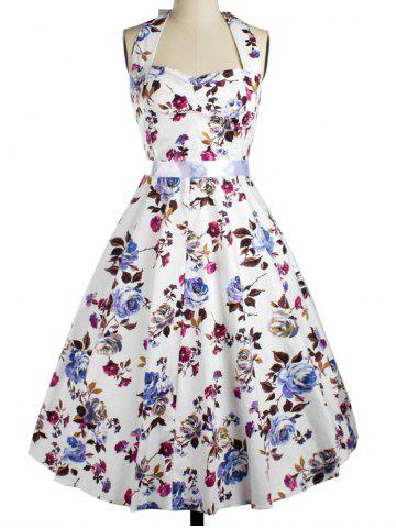 Halter Floral Fit and Flare Cocktail Dress - White - S