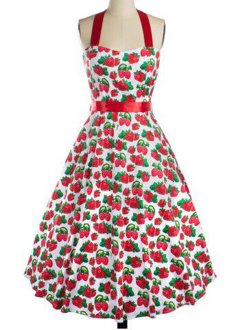 Sale Strawberry Print Bowknot Halter Cocktail Dress RED XL