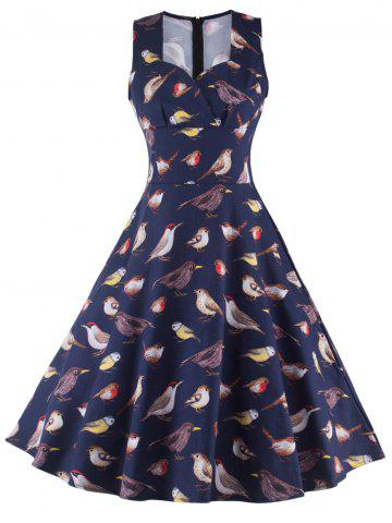 Sale Sleeveless Birdie Print Cocktail Dress