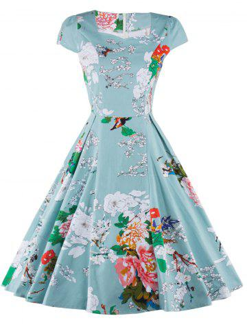 Affordable Retro Floral Print Ruffled Dress For Women
