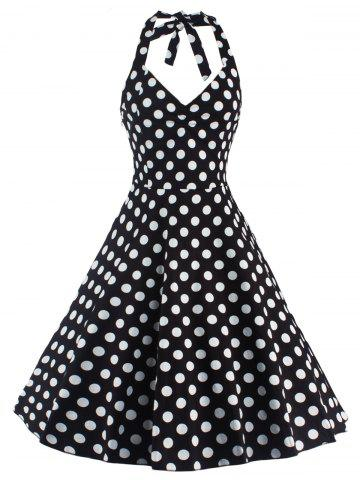 Latest Polka Dot Halter Pin Up Flare Sleeveless Dress - S BLACK Mobile