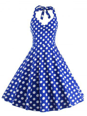 Chic Polka Dot Halter Pin Up Flare Sleeveless Dress