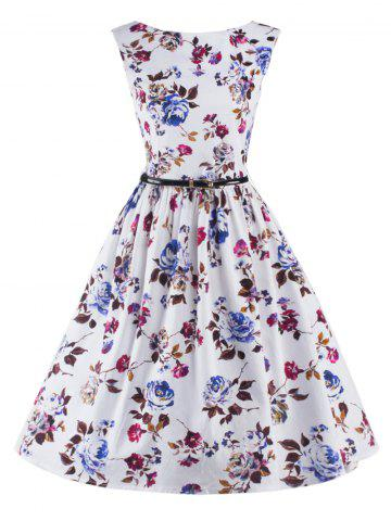 Latest Graceful Sleeveless Floral Vintage Prom Flare Tea Dress For Women WHITE 2XL