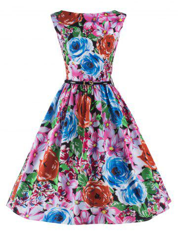 Outfit Elegant Sleeveless Floral Flare Dress For Women