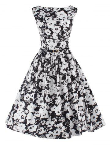 Fashion Sleeveless Floral Fit and Flare Cocktail Dress BLACK 2XL